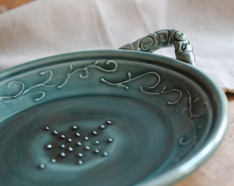 Garlic Grater, Oil Dipping Dish, Teal Green, Mothers Day, Housewarming, Hostess Gift,  In STOCK, ready to ship