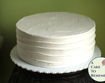 """10"""" round faux cake, ridged icing fake cake for photo shoots wedding cake topper display. Home staging food prop. Theatrical prop"""