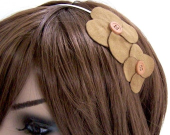 Floral Fascinator Headband - Skinny Metal Headband w/ Rust Flowers & Button Centers