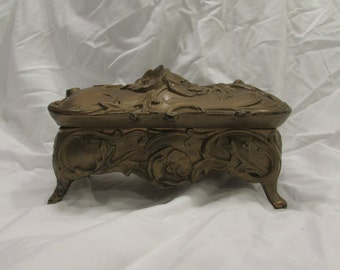 Jewelry Box, Casket Style, Art Nouveau, Unlined, Metal, Gold Painted