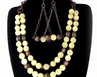 Bliss - Creamy Soft Yellow Calcite Necklace and Earring Set - Yellow Necklace and Earring Set