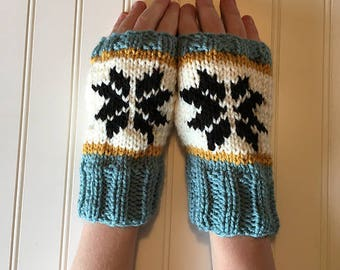 Nordic Snowflake Hand-Knit Fingerless Gloves in Cream, Black, Sage and Gold