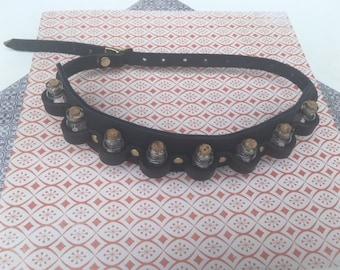Steampunk Dark Blue Leather Vial leg Band/ Garter belt, Steampunk Alchemist Apothecary Potion Leg Band/ Garter belt, Alchemist Belt