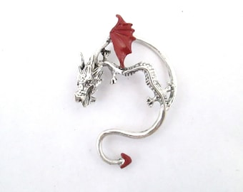 Red dragon prince ear cuff earring -gothic dragon jewelry