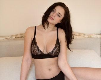 lingerie set- Bra & Brief Set, barlette, sheer lingerie, sexy lingerie, gift for her, bamboo jersey, black lace lingerie