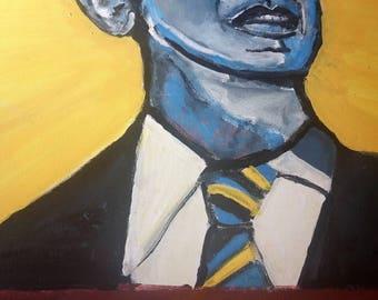 Obama art painting Pop expressionist realism on canvas Original