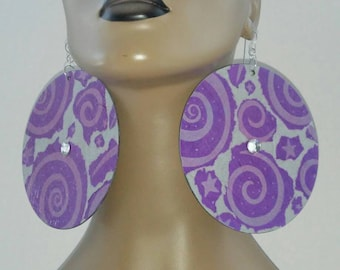 Beautiful Unique Plastic Disc Earrings, Embellished with Beautiful Rhinestones and Protected Printed Paper, Large Earrings, Womens Earrings