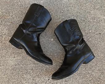 Vintage Justin black leather roper boots