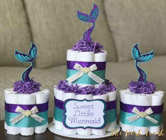 Little Mermaid Diaper Cake Purple Teal Gold Under The Sea
