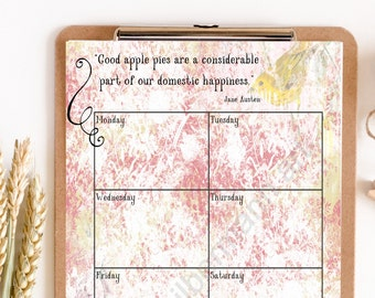 Jane Austen quote meal planner, printable planner page, jane austen gifts, bookworm gift, apple pie, author, food quotes
