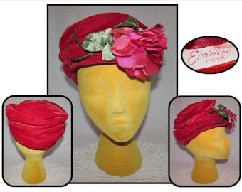 Vintage Bright Red Velvet Tam Beret Hat Cap W/ Large Pink Satin Roses by Eva Mae Modes, 50s, accessory
