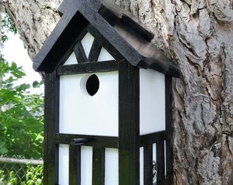 Painted Bird house/Nesting Box, American Tudor style 7, thatch roof design, EZ cleanout, western red cedar, Made in USA, fully functional