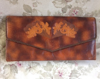 Vintage 1940's clutch giant Meeker Steerhide tooled leather purse brown tan