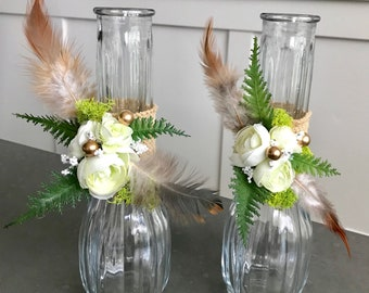 Boho 2 glass bud vases/ boho table decor/ holiday table decor/ wedding/ tea party/ pow wow/ enchanted forest / table Centerpiece