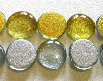 10 LARGE Glass GLITTER Gems - Light Gold and Silver - Half Marbles - Mosaics/Wedding/Floral/Candle Display/Glass Nuggets