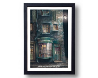 Harry Potter Poster, Harry Potter Art, Harry Potter Diagon Alley, Harry Potter Wall Art, Flourish and Blotts Travel Poster