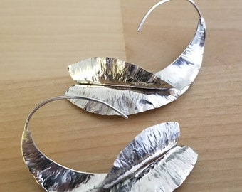 Foldformed forged sterling silver earrings