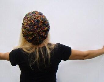 Slouch Hat, Crochet Beanie, Womens Nylon Tam, Wool Beanie, Fuschia and Yellow Cap, Art Yarn Slouch Hat