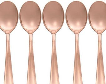Rose Gold Spoons Cutlery 32 Piece Set, Birthday Party Cutlery, Wedding Cutlery, Hen Party Cutlery, BBQ Cutlery, Garden Party Cutlery