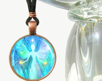 """Reiki Jewelry, Chakra Necklace, Angel Energy Pendant Blue Jewelry """"Aura Angel"""""""