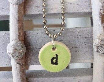 Kiln Fired Personalized Initial Necklace LIme Green