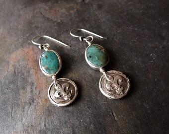 Silver Fleur De Lis Earrings, Gem Silica, Iris Earrings, Blue Jewelry, Handmade Silver, Silver Charms, Causal Jewelry, Urban Rustic