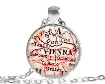 Vienna, Austria map necklace, Austrian necklace charm, Vienna Map Jewelry, Location Inspirations, sister gift, mother daughter gift, A169