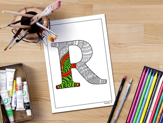 Big Abstract Coloring Pages : Letter r coloring page printable coloring pages coloring