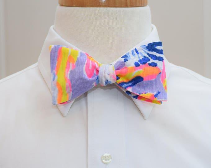 Men's Bow Tie, So Snappy lilac verbena 2017 Lilly print, wedding bow tie, groom bow tie, groomsmen gift, hot pinks/yellow/purple bow tie