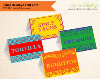 Cinco De Mayo Editable Party Printable, Cinco De Mayo Tent Card, Mexican food tags, gift tags, favor tags, table place cards