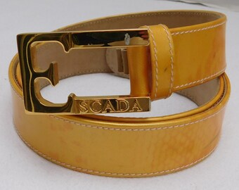 Vintage Escada Spell-out Logo Buckle Belt 30