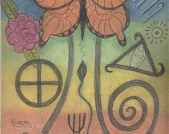 Butterfly Spirit Petroglyph Portrait - Joyful Transformation - by Azurae Windwalker, shamanic artist healer