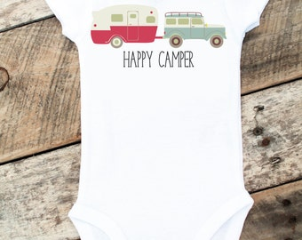 NEW Happy Camper Onesies®, Baby Boy Onesie, Camping, Baby Boy Clothes, Graphic Onesie, Baby Singlet, Retro Baby, Cute Baby Clothes, Photo