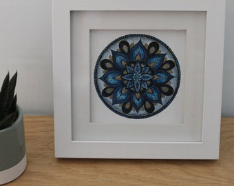 Blue Mandala Art - Blue and Gold - Hand painted - One of a Kind