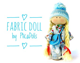 Tilda handmade fabric doll with curly golden hair in jeans denim vest sky blue leather bag boots Textile soft Waldorf doll Gift for her