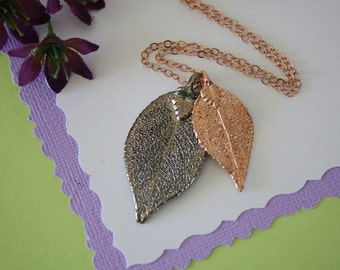Double Evergreen Leaf Necklace, Evergreen Necklace, Double Leaves, Rose Gold Leaf, Platinum Leaf, Real Leaf, DLC48