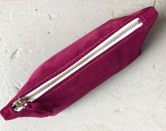 Pink Leather Ditty Bag