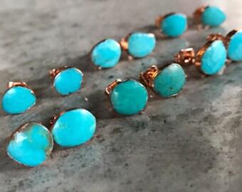 Natural Turquoise Studs Earrings, December Birthstone Jewelry, Birthstone Earrings, Turquoise Earrings, Boho wedding