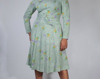 Vintage 60's Green Orange White Abstract Floral Print Plus Size Dress Made in France (sz 46 12 14)