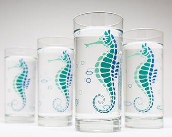 Seahorse Water Glasses - Set of 4 Everyday Glasses, Beach House Decor, Seahorses, Beach Themed Glassware, Beach Theme Decor, Ocean Glasses
