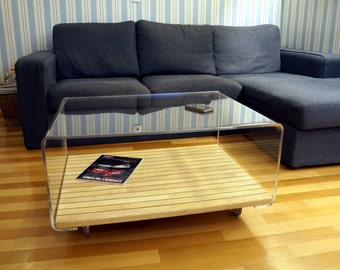 Coffee table made of lucite and wood, sofa table, acrylic coffee table, lucite coffee table, sofa table