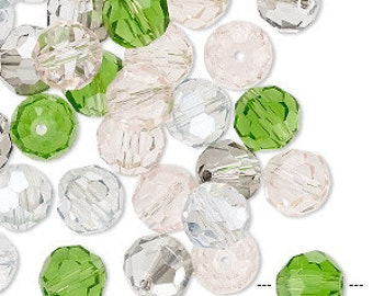 40pcs  7.5-8mm Faceted Round Glass Bead Mixed Spring