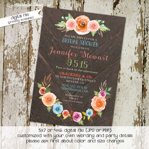 Couples Shower Invitation floral wood rustic wedding Rehearsal Dinner I do BBQ engagement party stock the bar baby | 315 Katiedid Designs
