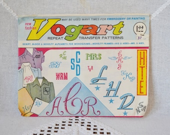 Vintage Vogart 122 Repeat Transfer Patterns Alphabet Script Lettering Embroidery Sewing Pattern  Crafts  DIY Sewing Crafts PanchosPorch