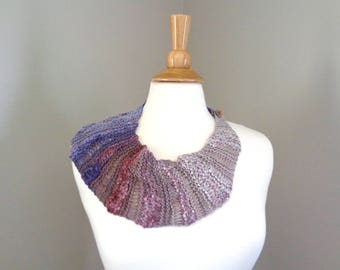 Asymmetrical Neck Scarf, Button Cowl Scarf, Bandana Scarf, Cotton Viscose, Hand Knit, Women's Accessory, Teen Girls Fashion, Cute Chic