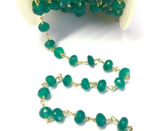 Green onyx Rosary Chain, Green onyx Stone Chain, Wire Wrapped Chain, Rosary Chain, Rosary Beaded Chain Stone Chain Silver Plated By Foot
