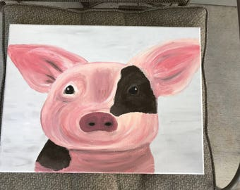 Original Pig art, Canvas Pig art, colorful Pig art, cute pig decor, southern pig art, Pink Pig art, Pink and brown pig art, detailed pig art