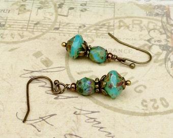 Turquoise Earrings, Rustic Earrings, Green Earrings, Victorian Earrings, Turquoise Gold Earrings, Czech Glass Beads, Unique Earrings, Gifts