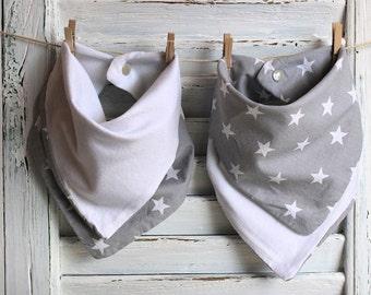 Reversible Bandana Baby Bib Grey and White Stars