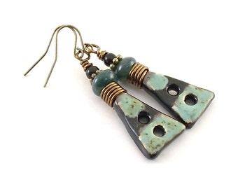 Handmade Earrings, Ceramic Earrings, Rustic Blue Earrings, Artisan Earrings, Boho Earrings, Antique Brass Earrings, Turquoise Earrings,AE094